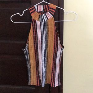 NEW high neck zara colorful striped top